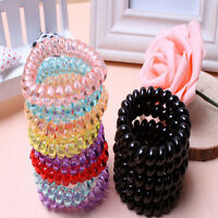 5pcs Elastic Rubber Tie Wire Coil Hair Bands Rope Ponytail Holders !