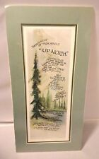 "Up North 8"" x16"" Unframed Print Pine Tree Green Mat Escape Relax Marjorie Winch"