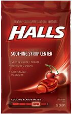 Halls Soothing Syrup Center Cherry Flavor Menthol Drops 25 ea (Pack of 7)