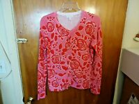 Charter Club Petite Size P/S Button Down Long Sleeve Pink & Red Floral Top