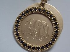 Emily Ashley Classic Blue Sapp Engrave Charm Disc with small Link Chain 14K