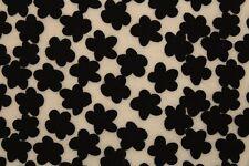 Neoprene Scuba Juvenile Jersey Flowers Print Dress Fabric Material (Cream/Black)