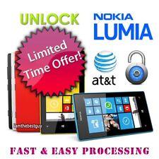 NETWORK UNLOCK CODE FOR AT&T ATT Nokia Lumia 635 640 520 800 820 830 900 920 925