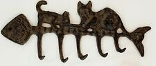 New Rustic Metal Cats With Fish Skeleton Wall Hook