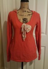 anthroplogie hooded top orange cute bow small S