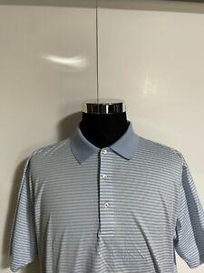 Peter Millar Polo Shirt Blue White Striped Golf Golfing MENS XL
