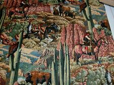 1 Yd Southwestern Cowboy Quilt Fabric Buffalo Wolves Cactus Cliffs Rugged Countr