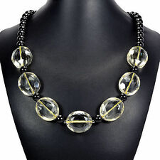 Lemon Fire Crystal Necklace Handcrafted Bead Jewellery UK Gift Idea