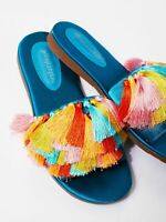 Jeffrey Campbell Free People Multi Color Tassel Slide Sandal Satin Size 8.5