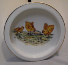 "Childs Feeding Bowl, Chicks Eating Seeds Germany 1.75"" Tall 7.75"" Across Vintage"