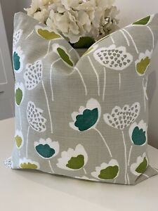 """Country Cream Natural Green Floral Scandi Cushion Cover 16"""" Handmade Leaf Flower"""
