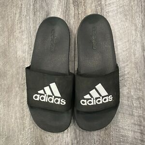 Youth  ADIDAS Slides Slip On Black & White Logo Size 6 Adilette G27627