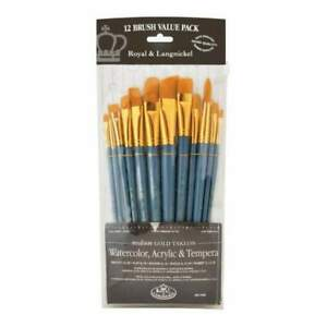 Royal Brush Golden Taklon Angular Variety Pack Brush Set 12 pack