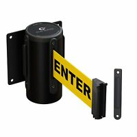 Retractable Belt Barrier Fixed Wall Mount Business Commercial Caution Yellow New