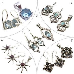 925 Silver Real BLUE TOPAZ Set Earrings Pendants Classic Jewelry Wholesale Lot