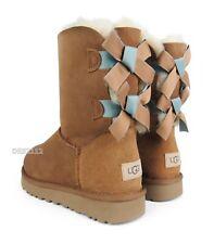 UGG Bailey Bow II Shimmer Chestnut Suede Fur Boots Womens Size 9 *NIB*