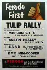 1964 Tulip Rally Mini Cooper S & Austin Healey class wins Ferodo poster ORIGINAL