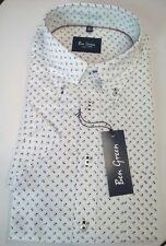 Ben Green Kurzarm Hemd Button-Down-Kragen Gr. L 41/42  Weiß Blumen