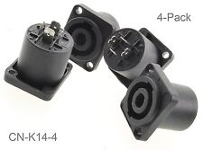 4-Pack 4-Pole Chassis Panel Mount Speakon Receptacle with 2-hole Flange