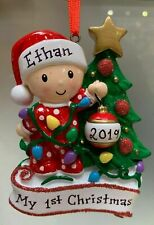 NEW 2019 RED GIRL/BOY LIGHTING TREE BABY'S FIRST CHRISTMAS PERSONALIZED ORNAMENT
