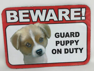Beware! Guard Puppy Dog On Duty Magnet Laminated Car Pet 6x4 New