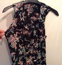🌺 River Island Scarlet 🌺 Size 8 Short Mini Dress, Black Floral Frill Front