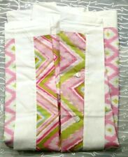 "Dena Home Pink Green White Cotton Pillow Sham 26 x 26"" with white border ~ 1"
