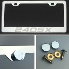 240SX Laser Engraved Polish Stainless Steel License Plate Frame Chrome Screw Cap