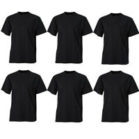 PACK OF 6 MENS CREW NECK SHORT SLEEVE BLACK T-SHIRT 100% COTTON S-XXL BLANK TEE