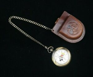 Disney Time Works - MICKEY MOUSE Pocket Watch & Leather Holster