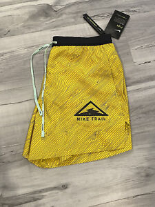 Nike Flex Trail Running Short CQ7949 735 Yellow Black Mens Medium
