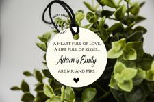 10 Ivory Gift Tags Wedding Favour Bomboniere Personalised Custom Mr & Mrs