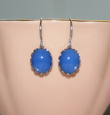Vintage Cornflower blue opaline satin opal glass bridesmaid artisan earrings