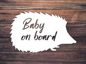Baby On Board Car Window Decal - Hedgehog Baby On Board Decal - Woodland Baby