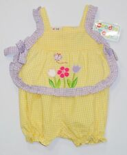 NWT Cradle Togs Vintage Butterfly Flowers Yellow White Gingham Sun Top, 3-6 mo