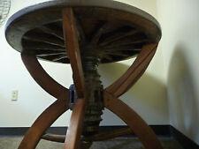 Antique Wagon Wheel Table with Wheel Hub Pendant