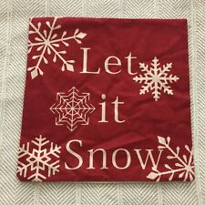 """Red & White Reindeer Silhouettes & Snowflakes 17"""" Square Pillow Covers Set of 3"""