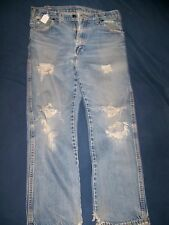 Vtg Distressed & torn  denim blue jeans Measures 33x30  USA   Dickies Jeans