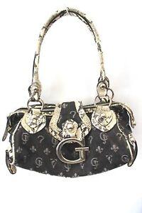 "Ladies GUESS Retro Shoulder Bag Denim & Snake Print 6x12x4.5"" Preloved - L38"