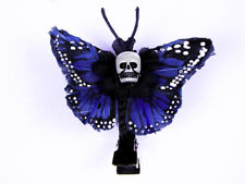 Hairy Scary Blue Mini Kahlovera Skull Butterfly Feather Hair Clip