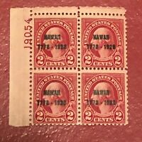 US SCOTT Cat # 647 MNH OG Plate Block of 4 Stamps CV $225 Selvage Tear FREE S&H