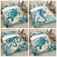 3D Sea Animal Print  Comforter Duvet Cover Kids 2/3pcs Bedding Set US Size