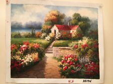 """OIL Painting- LANDSCAPE&QUAINT COTTAGE-20""""X24""""-TO BE STRETCHED"""