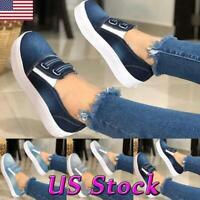 Women Slip On Flat Canvas Loafers Platform Wedge Heels Pump Casual Sneakers Shoe