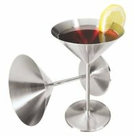 Oggi 8-Ounce Stainless Steel Martini Goblets, Set of 2 , New, Free Shipping