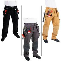 Mens Cargo Safety Pants Cordura Knee Outdoor Utility Work Wear Warehouse Trouser