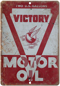 """Victory Motor Oil Porcelain Look Can Art 10"""" x 7"""" Reproduction Metal Sign U267"""