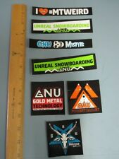GNU snowboard 2017 7 STICKER SET New Old Stock Mint Condition Lib Tech