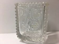 Vintage Toothpick Holder US Glass California Beaded Grape EAPG Clear Square