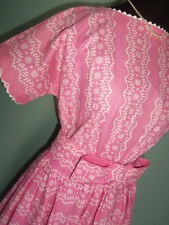 SWEET Vtg 50s LANZ Original Button Back DRESS Full SKIRT Bow Waist Pink Dots